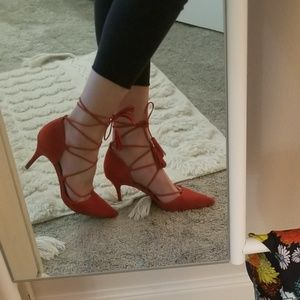 Marc Fisher red tie heels